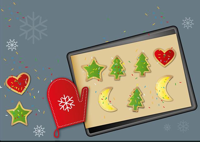 Grafik Backblech mit weihnachtlichen Motiven